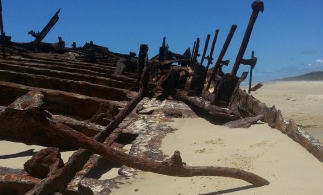 rusty hull of the maheno wreck