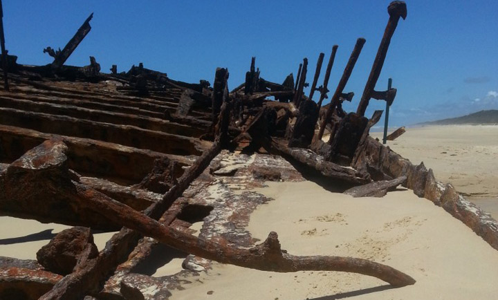 rusty hull of the maheno wreck
