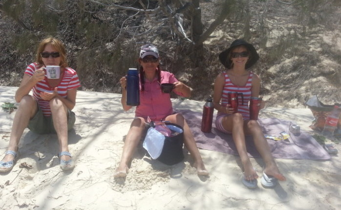 Cuppa time at waddy point on Fraser Island