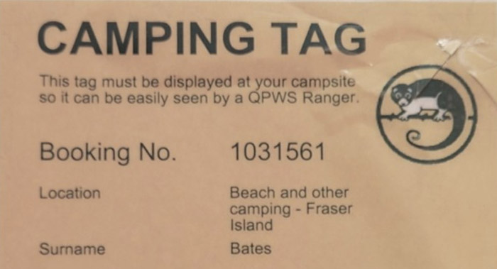 camping permit tag