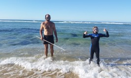 Snorkeling to catch a crayfish