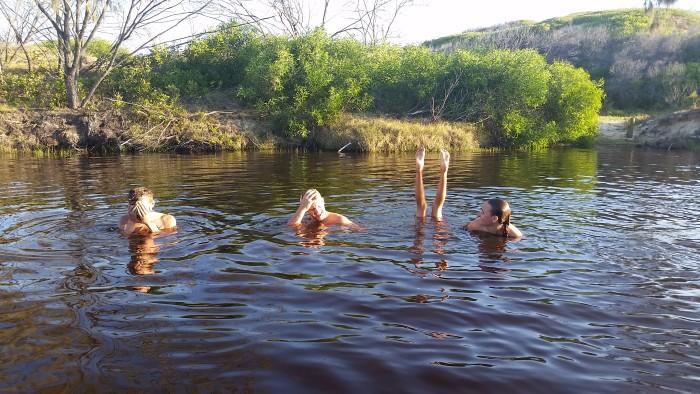 swimming in the tannin coloured water of Orange creek
