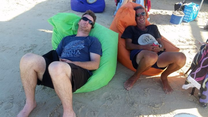 Relaxing on a bean bag at Platypus bay Fraser island