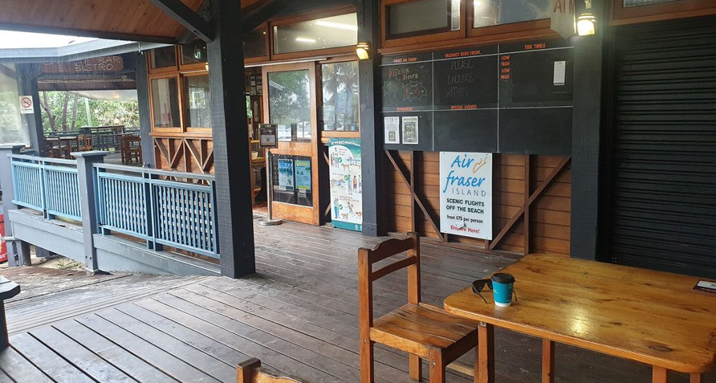 Outside the general Store at Happy valley Fraser Island