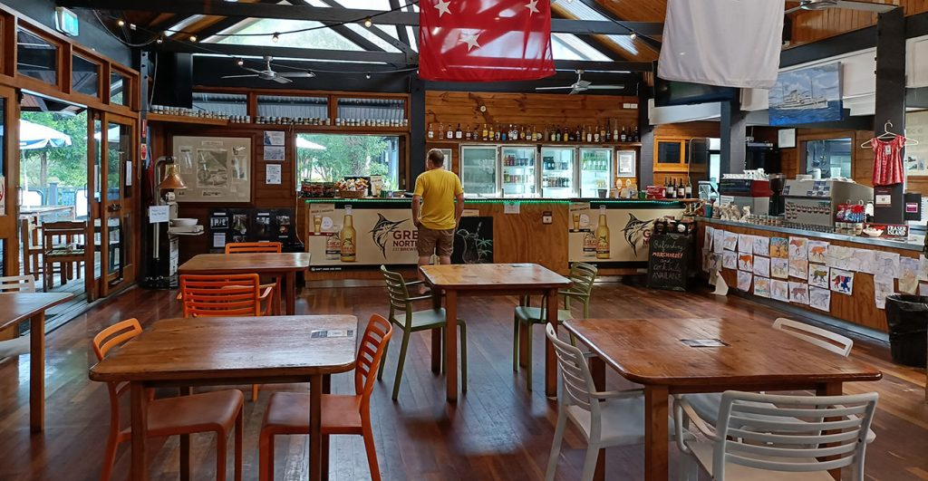 The public bar and takeaway area of the happy valley general store on Fraser Island