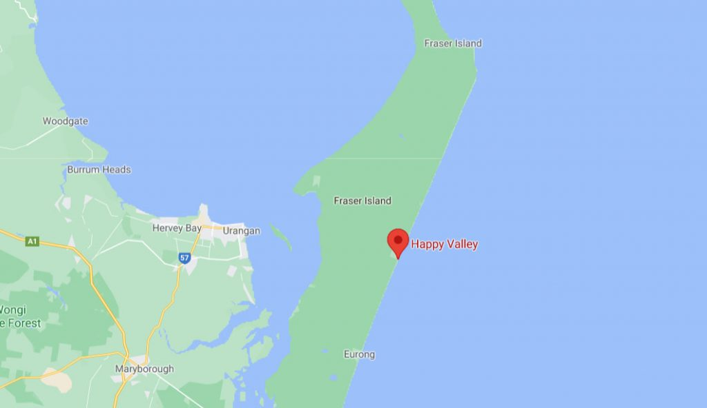 Map of Fraser Island and where happy valley is located