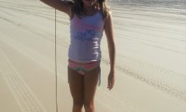 Catching beach worms