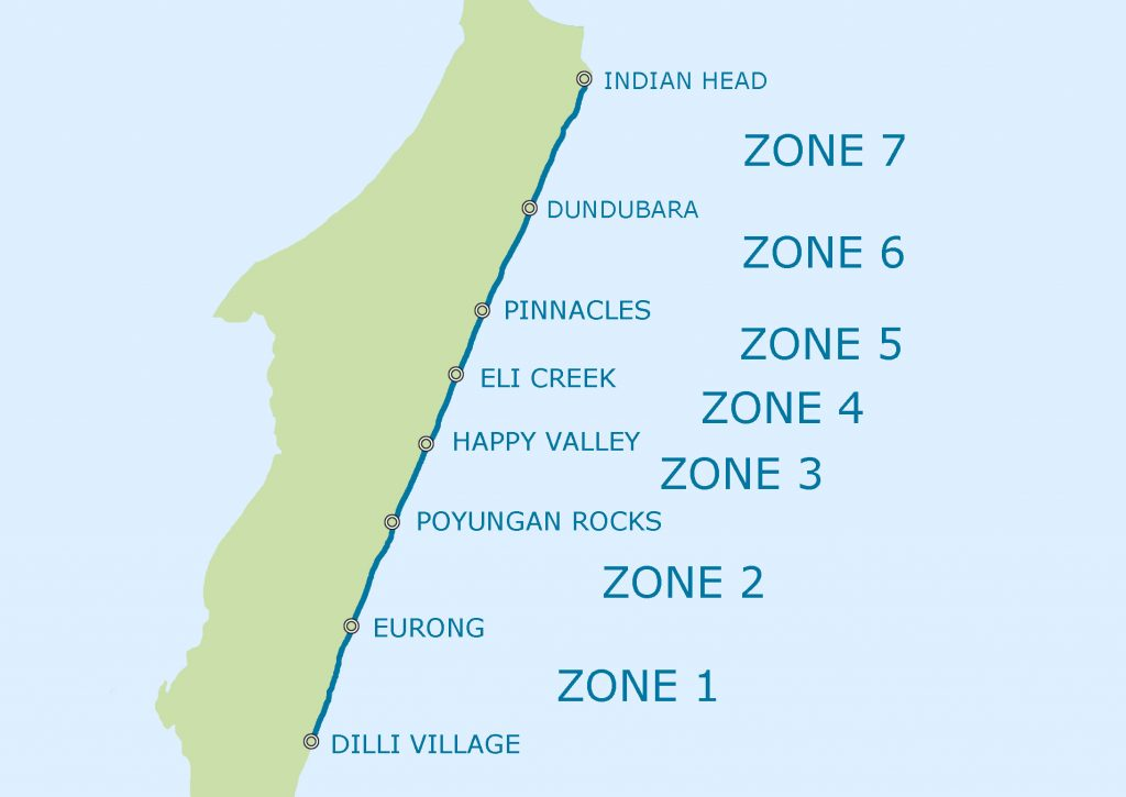 Map of the Eastern Camp-site zones on Fraser island Zone 1-7
