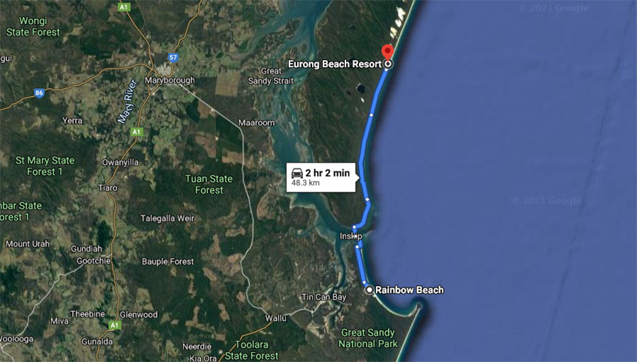 map of how to get to eurong beach from fraser island