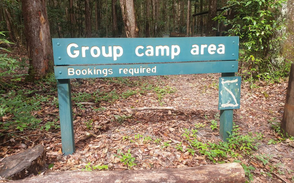Group camp area bookings required at central station